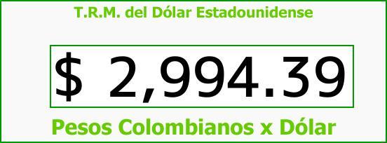 T.R.M. del Dólar para hoy Domingo 20 de Agosto de 2017