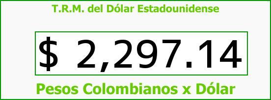 T.R.M. del Dólar para hoy Domingo 21 de Diciembre de 2014