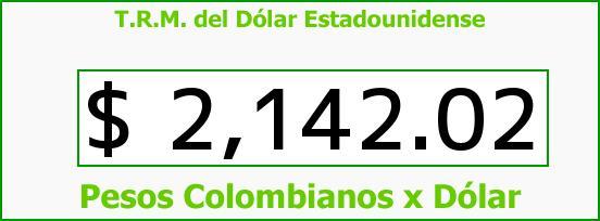 T.R.M. del Dólar para hoy Domingo 23 de Noviembre de 2014