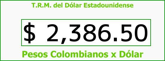 T.R.M. del Dólar para hoy Domingo 25 de Enero de 2015