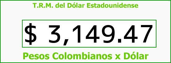 T.R.M. del Dólar para hoy Domingo 3 de Enero de 2016