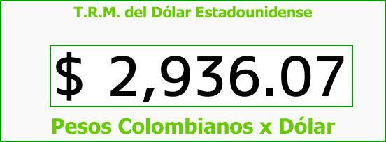 T.R.M. del Dólar para hoy Domingo 3 de Septiembre de 2017