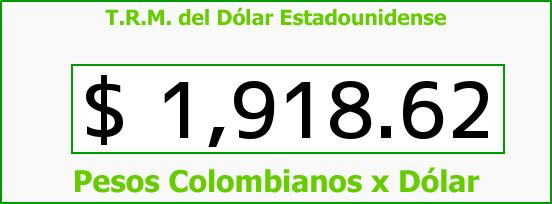 T.R.M. del Dólar para hoy Domingo 31 de Agosto de 2014