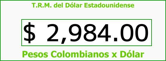 T.R.M. del Dólar para hoy Domingo 31 de Diciembre de 2017