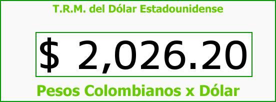 T.R.M. del Dólar para hoy Domingo 5 de Octubre de 2014