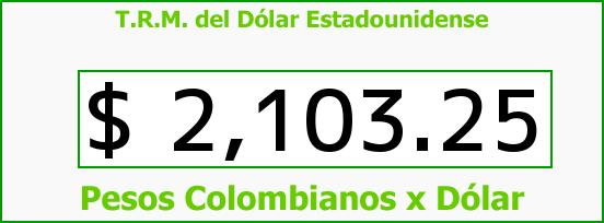 T.R.M. del Dólar para hoy Domingo 9 de Noviembre de 2014