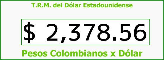 T.R.M. del Dólar para hoy Jueves 1 de Enero de 2015