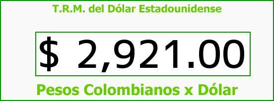 T.R.M. del Dólar para hoy Jueves 1 de Junio de 2017