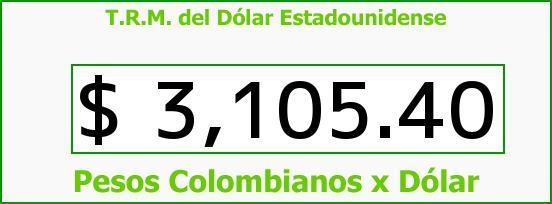 T.R.M. del Dólar para hoy Jueves 10 de Septiembre de 2015