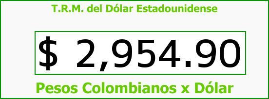 T.R.M. del Dólar para hoy Jueves 11 de Agosto de 2016