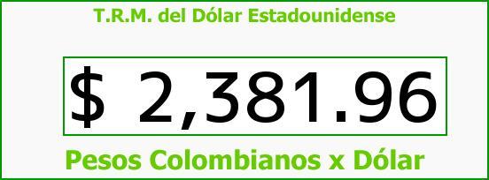 T.R.M. del Dólar para hoy Jueves 11 de Diciembre de 2014