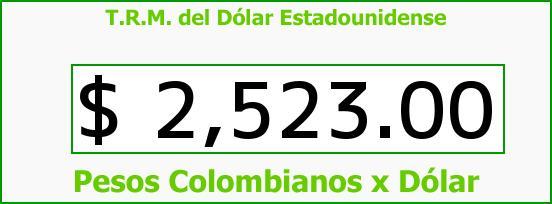 T.R.M. del Dólar para hoy Jueves 11 de Junio de 2015