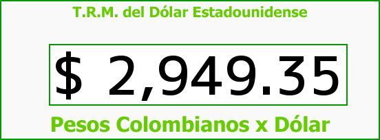 T.R.M. del Dólar para hoy Jueves 11 de Mayo de 2017
