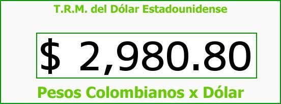 T.R.M. del Dólar para hoy Jueves 12 de Enero de 2017