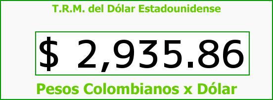 T.R.M. del Dólar para hoy Jueves 12 de Noviembre de 2015