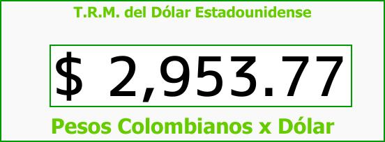 T.R.M. del Dólar para hoy Jueves 12 de Octubre de 2017