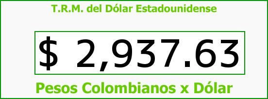 T.R.M. del Dólar para hoy Jueves 13 de Agosto de 2015