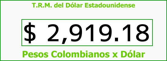 T.R.M. del Dólar para hoy Jueves 13 de Octubre de 2016