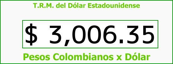 T.R.M. del Dólar para hoy Jueves 14 de Abril de 2016