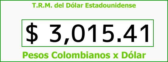 T.R.M. del Dólar para hoy Jueves 14 de Diciembre de 2017