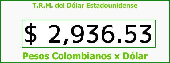 T.R.M. del Dólar para hoy Jueves 14 de Julio de 2016