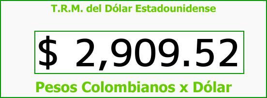 T.R.M. del Dólar para hoy Jueves 14 de Septiembre de 2017