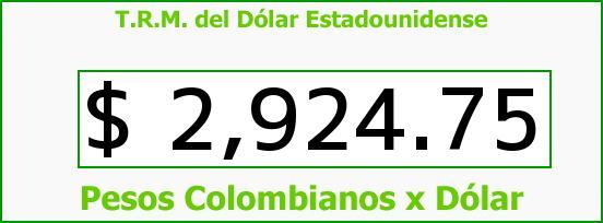 T.R.M. del Dólar para hoy Jueves 15 de Junio de 2017