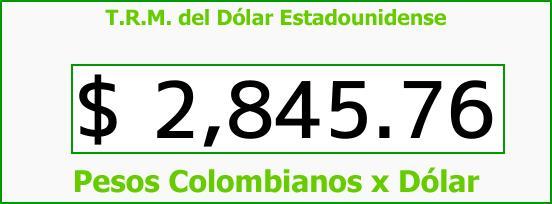 T.R.M. del Dólar para hoy Jueves 15 de Marzo de 2018