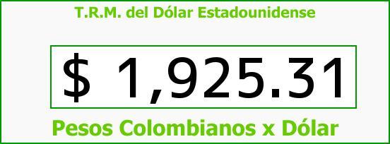 T.R.M. del Dólar para hoy Jueves 15 de Mayo de 2014