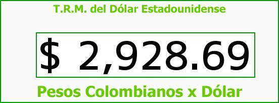 T.R.M. del Dólar para hoy Jueves 15 de Octubre de 2015