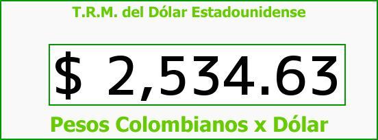 T.R.M. del Dólar para hoy Jueves 16 de Abril de 2015