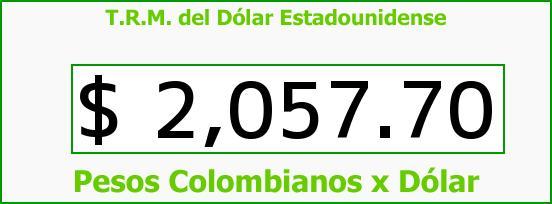 T.R.M. del Dólar para hoy Jueves 16 de Octubre de 2014