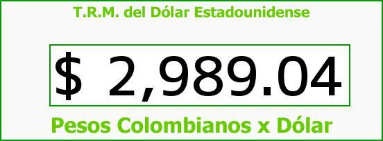 T.R.M. del Dólar para hoy Jueves 17 de Septiembre de 2015