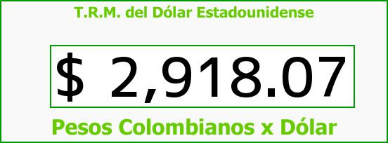 T.R.M. del Dólar para hoy Jueves 18 de Agosto de 2016