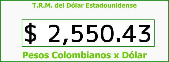 T.R.M. del Dólar para hoy Jueves 18 de Junio de 2015
