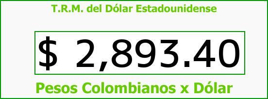 T.R.M. del Dólar para hoy Jueves 18 de Mayo de 2017