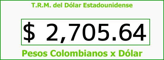 T.R.M. del Dólar para hoy Jueves 19 de Abril de 2018
