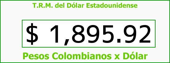 T.R.M. del Dólar para hoy Jueves 19 de Junio de 2014