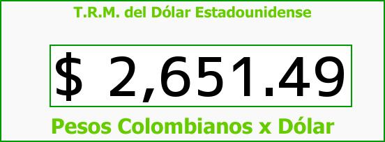 T.R.M. del Dólar para hoy Jueves 19 de Marzo de 2015
