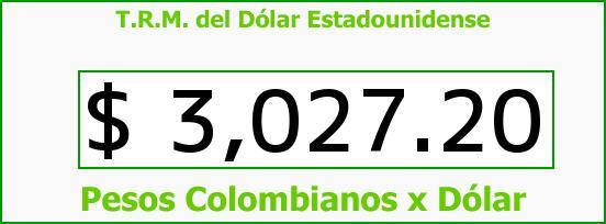 T.R.M. del Dólar para hoy Jueves 20 de Agosto de 2015