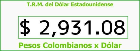 T.R.M. del Dólar para hoy Jueves 21 de Julio de 2016