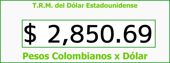 T.R.M. del Dólar para hoy Jueves 22 de Marzo de 2018