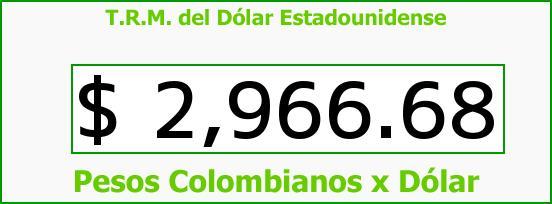 T.R.M. del Dólar para hoy Jueves 22 de Octubre de 2015