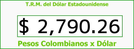 T.R.M. del Dólar para hoy Jueves 23 de Julio de 2015