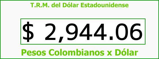 T.R.M. del Dólar para hoy Jueves 23 de Junio de 2016