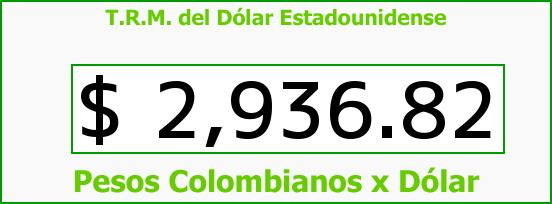 T.R.M. del Dólar para hoy Jueves 23 de Marzo de 2017