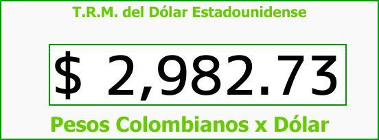 T.R.M. del Dólar para hoy Jueves 23 de Noviembre de 2017