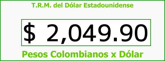 T.R.M. del Dólar para hoy Jueves 23 de Octubre de 2014