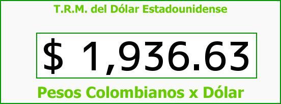 T.R.M. del Dólar para hoy Jueves 24 de Abril de 2014