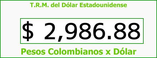 T.R.M. del Dólar para hoy Jueves 24 de Agosto de 2017